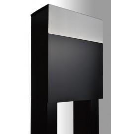Brevlåda med stativ Bravios Alto svart med rostfri lucka