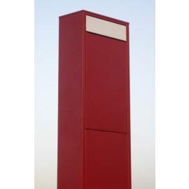 Röd brevlåda Bravios Big Box med rostfri lucka