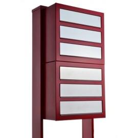Brevlåda anläggning Cube for six röd rostfri lucka