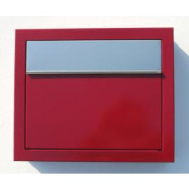 Röd Bravios elegance brevlåda med rostfri lucka