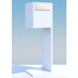 Vit design postlåda med rostfri lucka Hermes