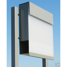 Grå Bravios Manhattan brevlåda vit transparent front med stolpe
