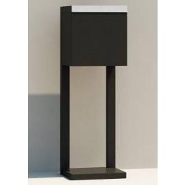 Design postlåda med stativ Oscar svart med rostfri lucka