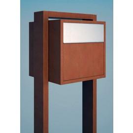 Design postlåda med stativ Soprano rostbrun och rostfri lucka