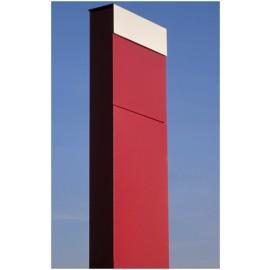 The Box markbrevlåda i rött med rostfri lucka